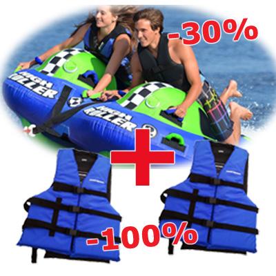 Sportstuff High Roller 2 + pojas Airhead plavi 2 kom